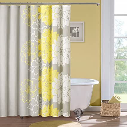 Madison Park Lola Cotton Shower Curtain Color Gray Yellow