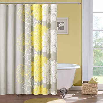 Amazon.com: Madison Park Lola Cotton Shower Curtain, Gray/Yellow ...