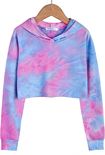 Arshiner Girls Crop Tops Tie-Dye Hoodies Kids Long Sleeve Pullover Sweatshirts