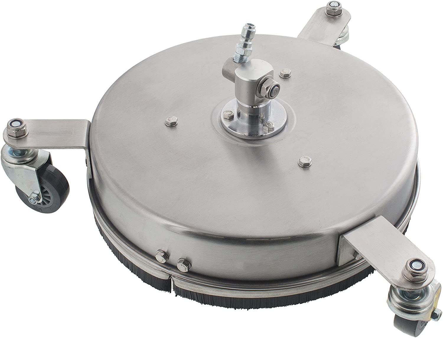 """Erie Tools 12"""" Stainless Steel Surface Cleaner with Wheels for Hot Cold Water Pressure Washer 4000 PSI 8 GPM No Wand"""