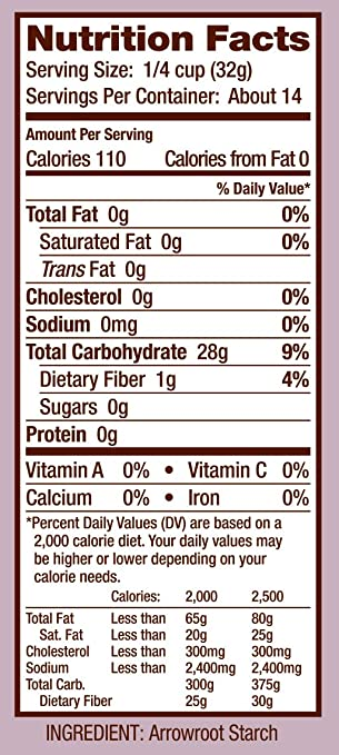 arrowroot starch nutritional value : Bob's Red Mill Arrowroot Starch / Flour, 16-ounce .