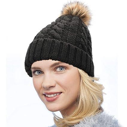 Dafunna Gorro de Punto Trenzado para Mujer con Pompón Sombrero de Invierno Cálido Lana Beanie Grande de Piel Sintética