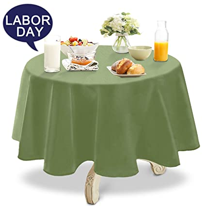 YEMYHOM Spill Proof Fabric Round Tablecloth For Dining Room, Wedding And  Party (60u0026quot
