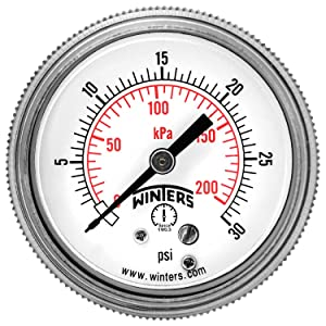 """Winters P9S 90 Series Steel Dual Scale Pressure Gauge with Removable Lens, 0-30 psi/kpa, 2"""" Dial Display, +/-2-1-2% Accuracy, 1/4"""" NPT Center Back Mount"""