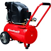 Einhell TE-AC 270/24/10 - Compresor de Aire (1.8 kW, 24 L, capacidad de admisión 270 l / min, 10 bar, lubricado con aceite, ruedas grandes) (ref. 4010450)
