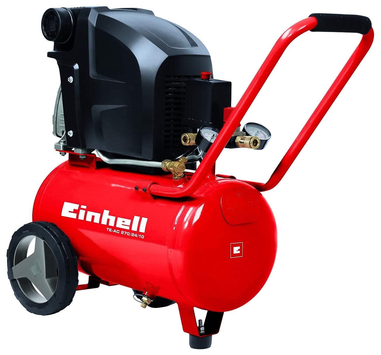 Einhell Compresseur  TE-AC 230/24 (1500 W , Régime 2.850 trs/min, Puissance d'aspiration 230 l/min, Débit d'air 0, 4, 7 bar: 132 l/min, 102 l/min, 83 l/min, Capacité de la cuve : 24 L, Cuve garantie 10 ans contre la corrosion)