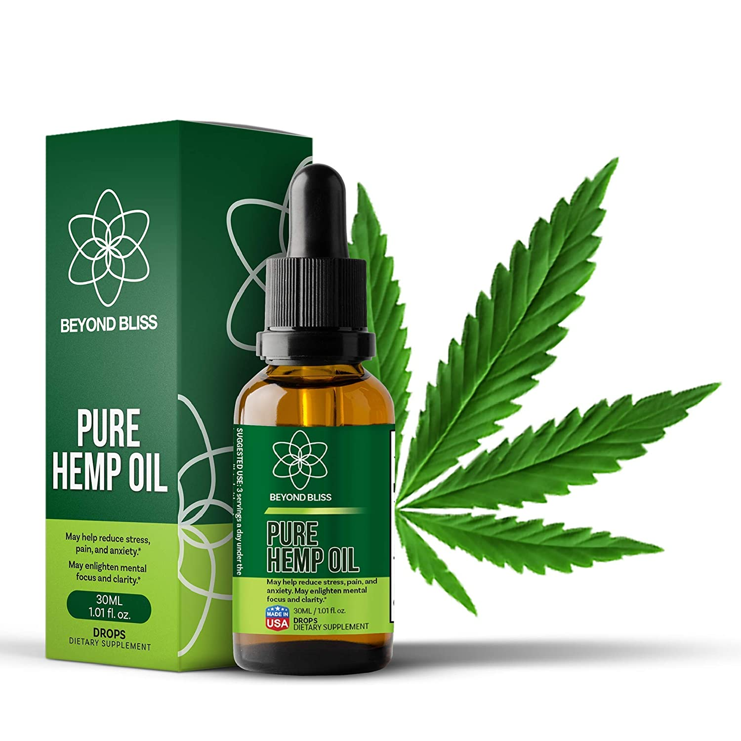 Beyond Bliss Hemp Oil Drops - 1050 Milligrams Daily - Promotes Pain Relief  - USA Made - Anxiety / Stress Relief Supplement - Natural Extract - Organic