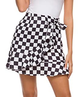 New Circular Ladies Women Tartan Mini Skirt With Attractive Bow Style