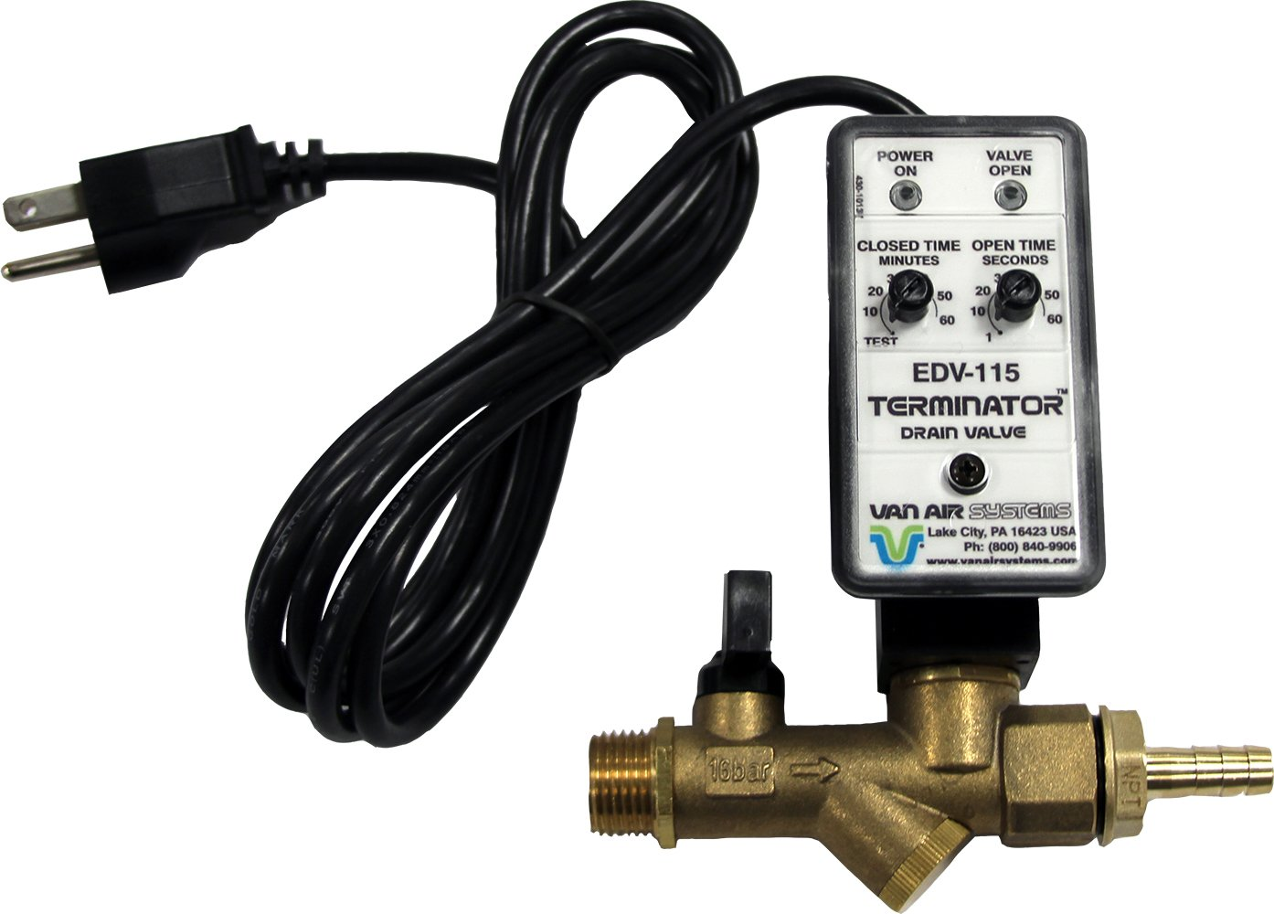 Van Air Systems 39-10507 Automatic Tank Drain for Air Compressors, 115V AC, Dual Inlet 1/2'' and 1/4'', Y-Strainer, Test Mode, Isolation Valve, 3/8'' Hose Barb Fitting, 6' Power Cord