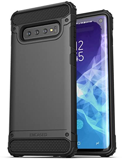 best sneakers 6f37d a5ff7 Encased Heavy Duty Case for Samsung Galaxy S10 (2019 Scorpio Series)  Military Grade Rugged Phone Protection Cover Black