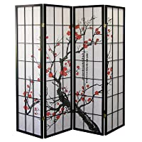 Deals on Roundhill Furniture Japanese Plum Blossom 4 Panel Room Divider