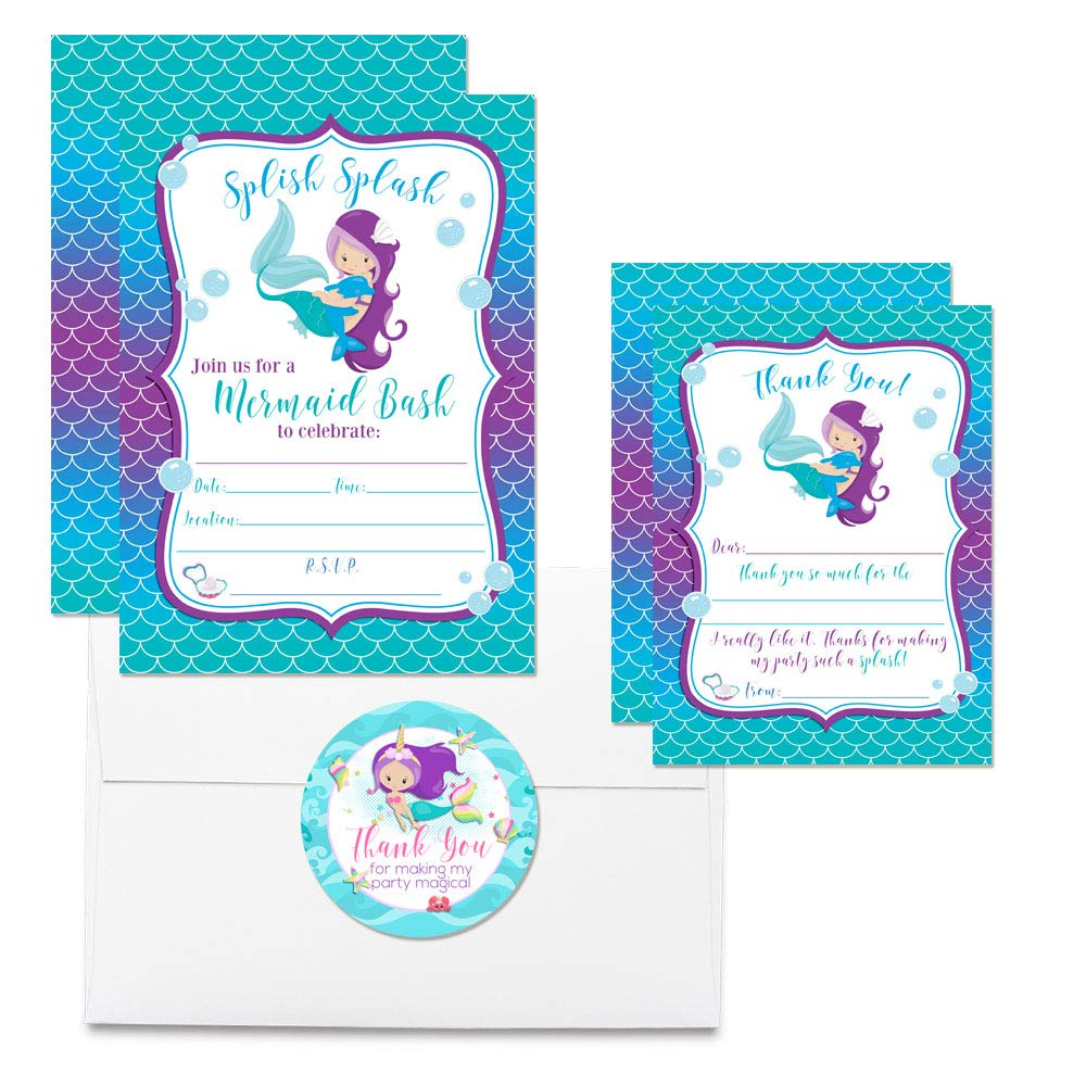 Deluxe Magical Mermaid Birthday Party Bundle for Girls, Includes 20 Each of 5''x7'' Fill-in Invitation Cards, Thank You Cards, Thank You Party Favor Stickers and Envelopes