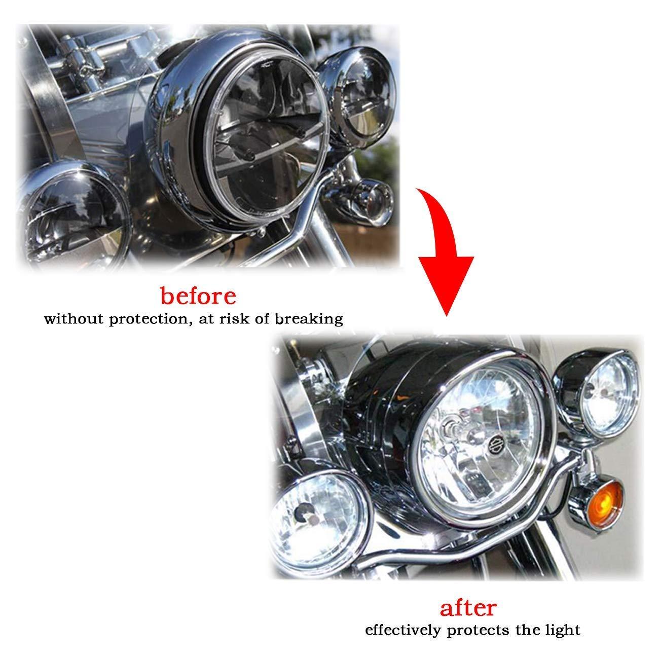 Semoic Moto Anneau de Garniture de Phare de 7 Pouces 4,5 Pouces Style de Visi/ère pour de Randonn/ée King Electra Glide Softail FLD//Flh Accessoires de Moto