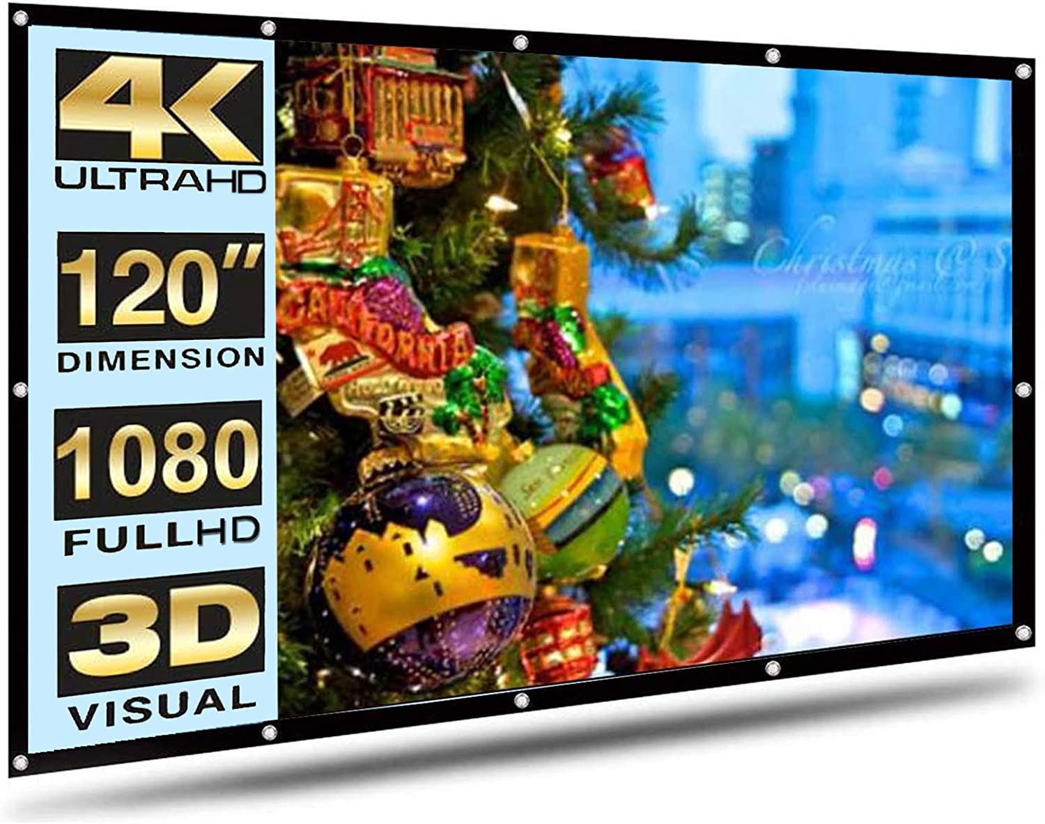 MAMG Projector Screen 120 Inch 16:9 HD White Mounted Foldable Screen for Home Theater Indoor Outdoor Movies Screen Double-Sided Projection (120)