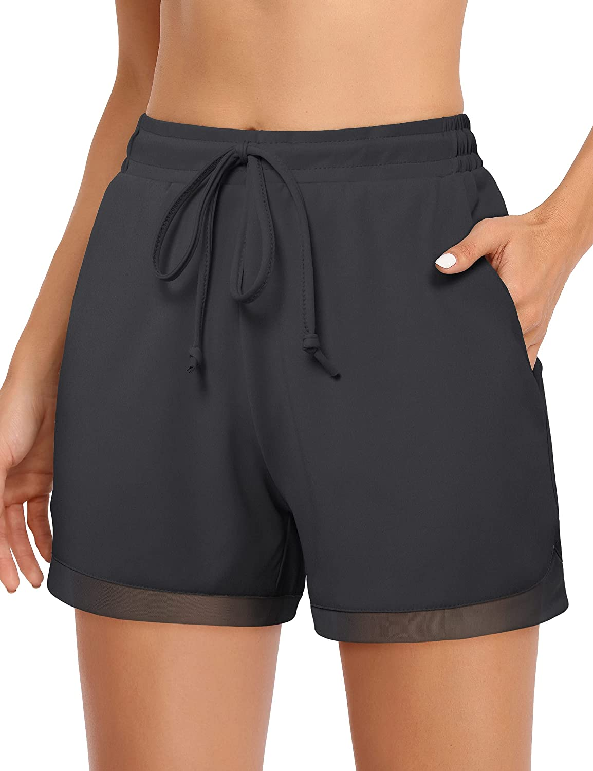 CHICHO Women's Running Shorts with Pockets Breathable Soft Workout Athletic Short