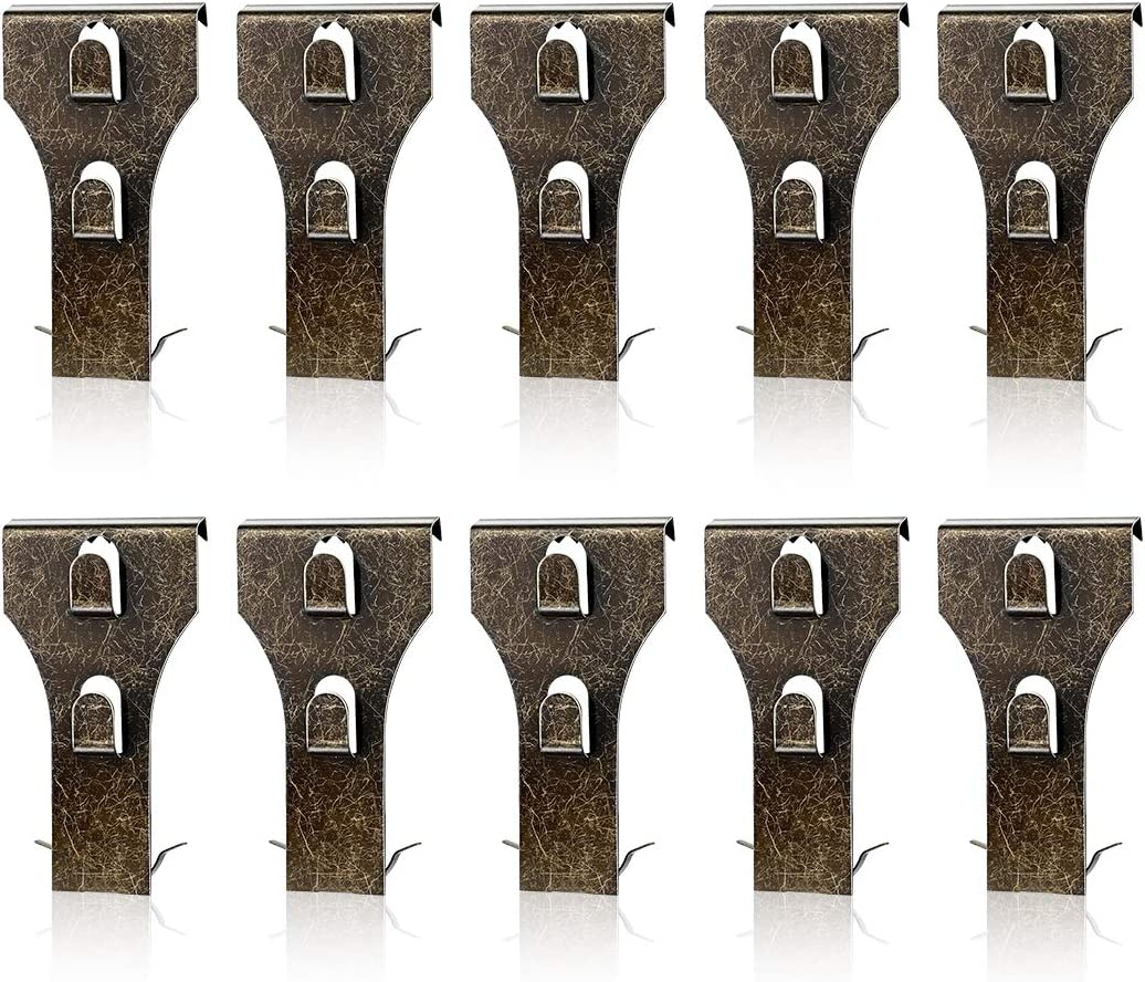 AIEVE Brick Clips, Brick Hangers for Pictures, 10 Pack Heavy Duty Brick Hooks Brick Hanging Clips Fastener Hooks Metal Brick Clips for Hanging Outdoors Pictures Wreath Light Decorations