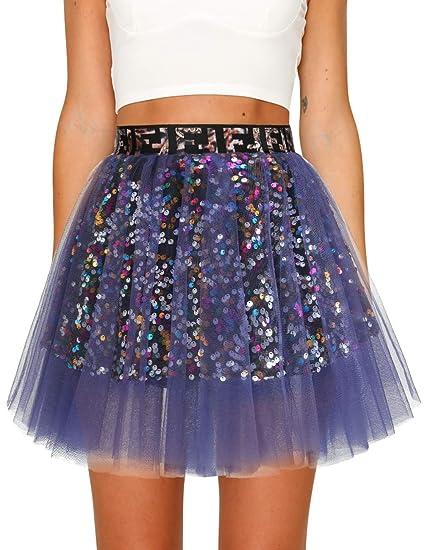 Timormode - Falda de Tul, diseño de Lentejuelas, Multicolor ...