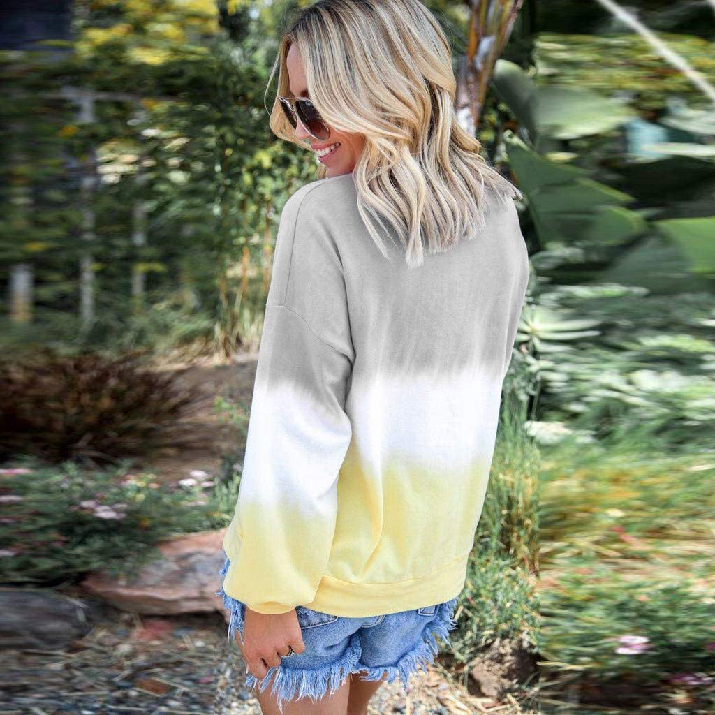 Women Casual Long Sleeve T-Shirts O-Neck Tops Gradient Contrast Color Top Pullover Sweatshir