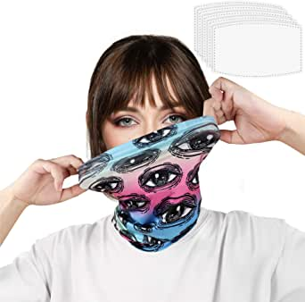Neck Gaiter Face Mask with Filter Neck Wrap UV Face Cover Balaclava Summer Bandana for Fishing