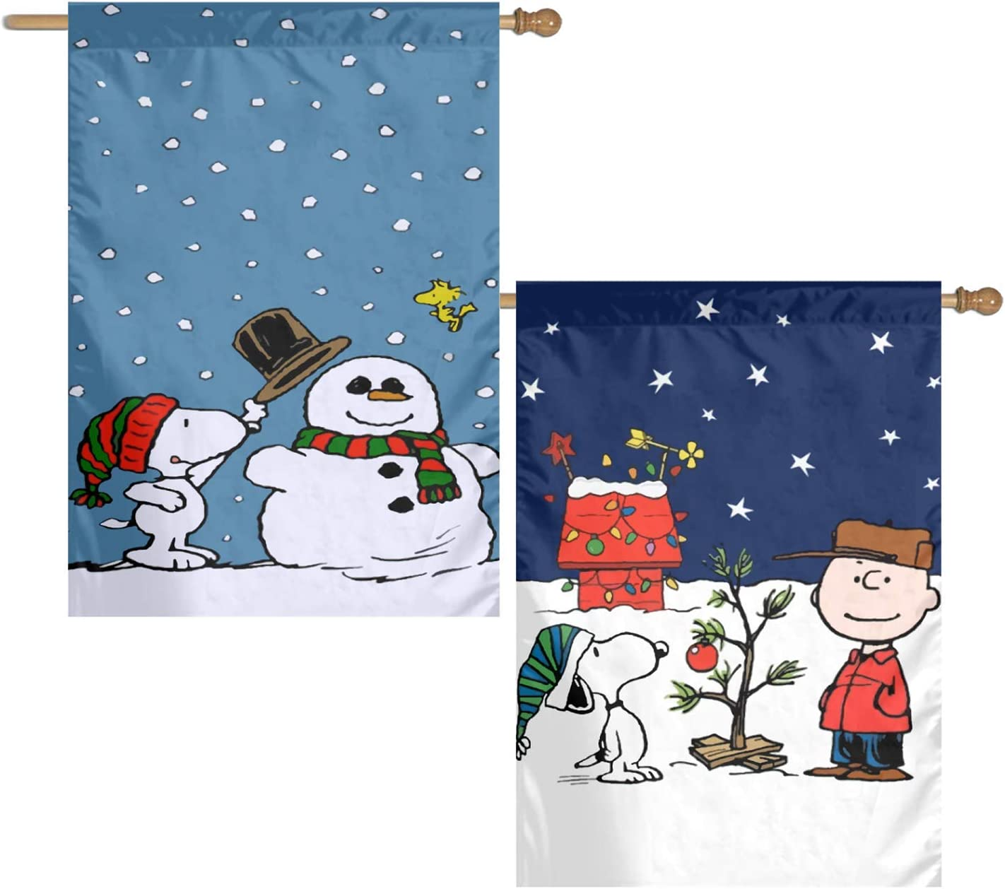 WOMFUI Peanuts Charlie Brown Christmas Garden Flag Two Sides are Different Double Sided Seasonal Yard Sign 28×40 Inch