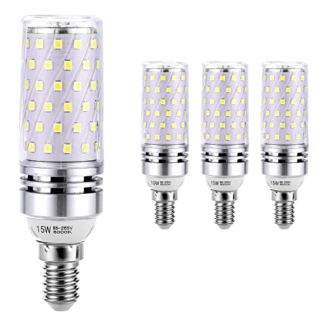 Hzsane E14 Bombilla de Maíz LED 15W, 6000K Blanco Frío, 120W Incandescente Bombillas Equivalentes, 1500Lm, Pequeño Tornillo de Edison Bombillas LED, ...