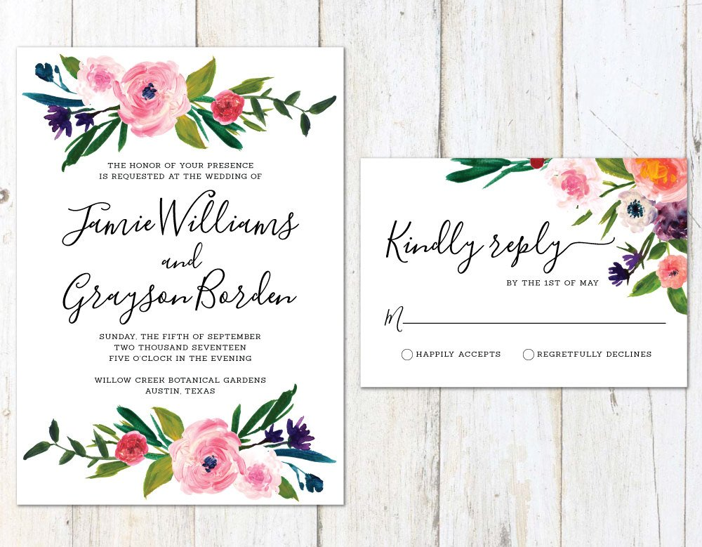 Unique Wedding Invitation, Floral Wedding Invitation, Spring Flowers Invite