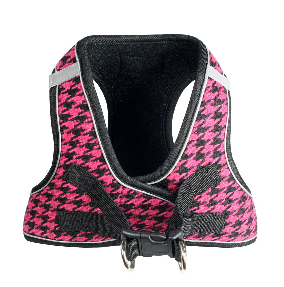 Hip Doggie Houndstooth Pink Ez Reflective Harness Vest L