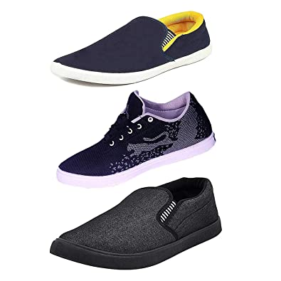 aded65ef343 FITBLOOM Mens Pack of 3 Casual Shoes (Loafers Shoes) Black  Buy Online at  Low Prices in India - Amazon.in