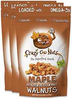 product image for Crazy Go Nuts Walnuts - Maple, 4.5 oz (3-Pack) - Healthy Snacks, Vegan, Low Carb, Gluten Free, Superfood - Natural, Non-GMO, ALA, Omega 3 Fatty Acids, Good Fats, and Antioxidants