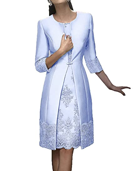 95c0087edc7b ShineGown Mother of The Bride Dresses for Wedding Satin Knee-Length Long  Sleeves with Jacket: Amazon.co.uk: Clothing