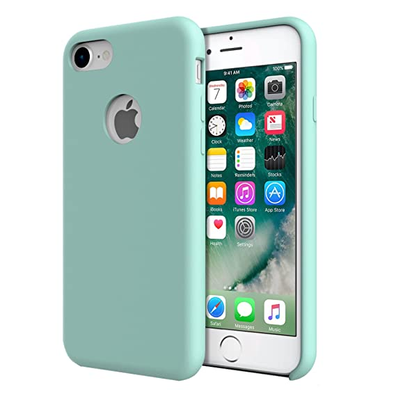 sports shoes 00fb6 1b3fd For iPhone 7 Case - MoKo Slim Fit Shockproof Liquid Silicone Gel Rubber  Protective Case Soft Touch Back Cover for Apple iPhone 7 2016, Sea Blue  (Mint ...