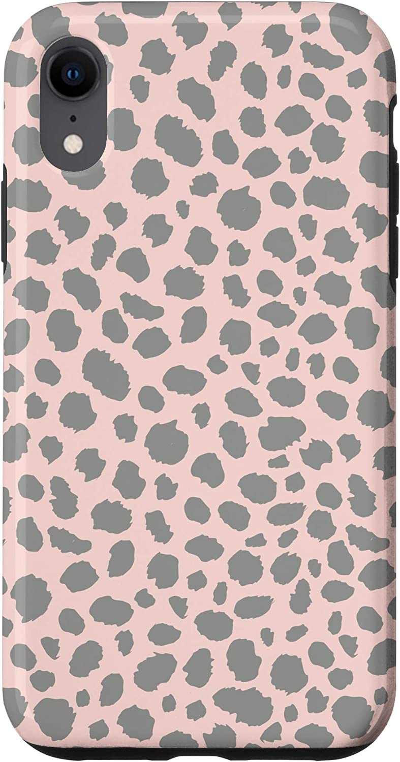 iPhone XR Cheetah Skin Art In Charcoal Grey Patches & Rose Pink Color Case