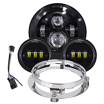 TRUCKMALL 7 inch LED Headlight, 4.5'' Fog Passing Lights, with Mounting Ring for Harley Davidson Touring Road King Ultra Classic Electra Street Glide Tri Cvo Heritage Softail Slim Deluxe Fatboy, Black: Automotive