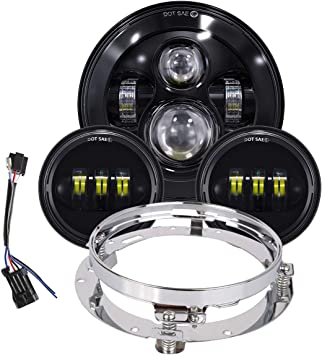 7 inch LED Headlight Fog Passing Lights DOT Kit Set Ring Motorcycle Headlamp for Harley Davidson Touring Road King Ultra Classic Electra Street Glide Tri Cvo Heritage Softail Slim Deluxe Fatboy Black Ubuymore