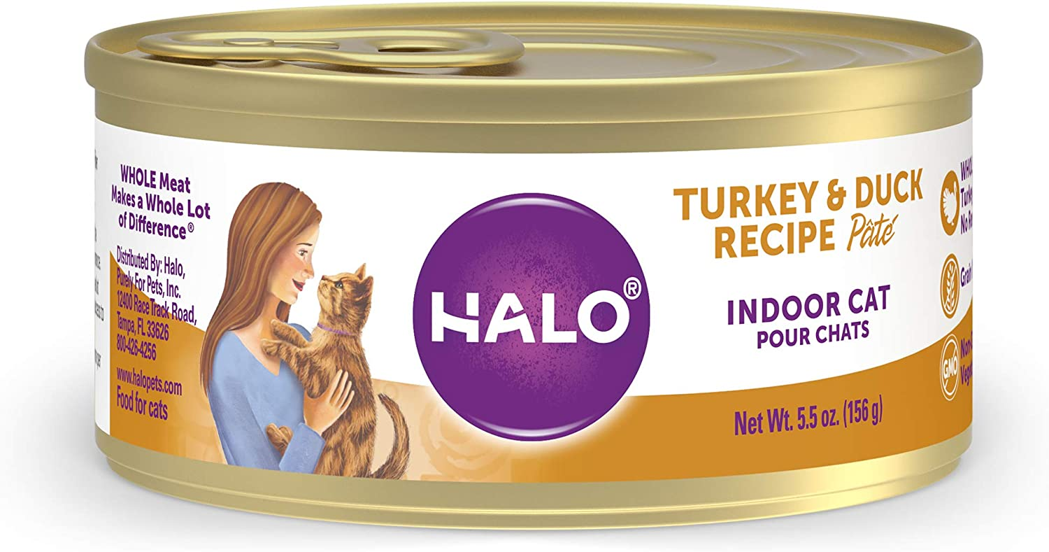 Halo Grain Free Natural Wet Cat Food - Premium and Holistic Real Whole Meat - Indoor Turkey & Duck Recipe Pate - 5.5oz Can (Pack of 12) - Sustainably Sourced Adult Wet Cat Food - Non-GMO and BPA Free