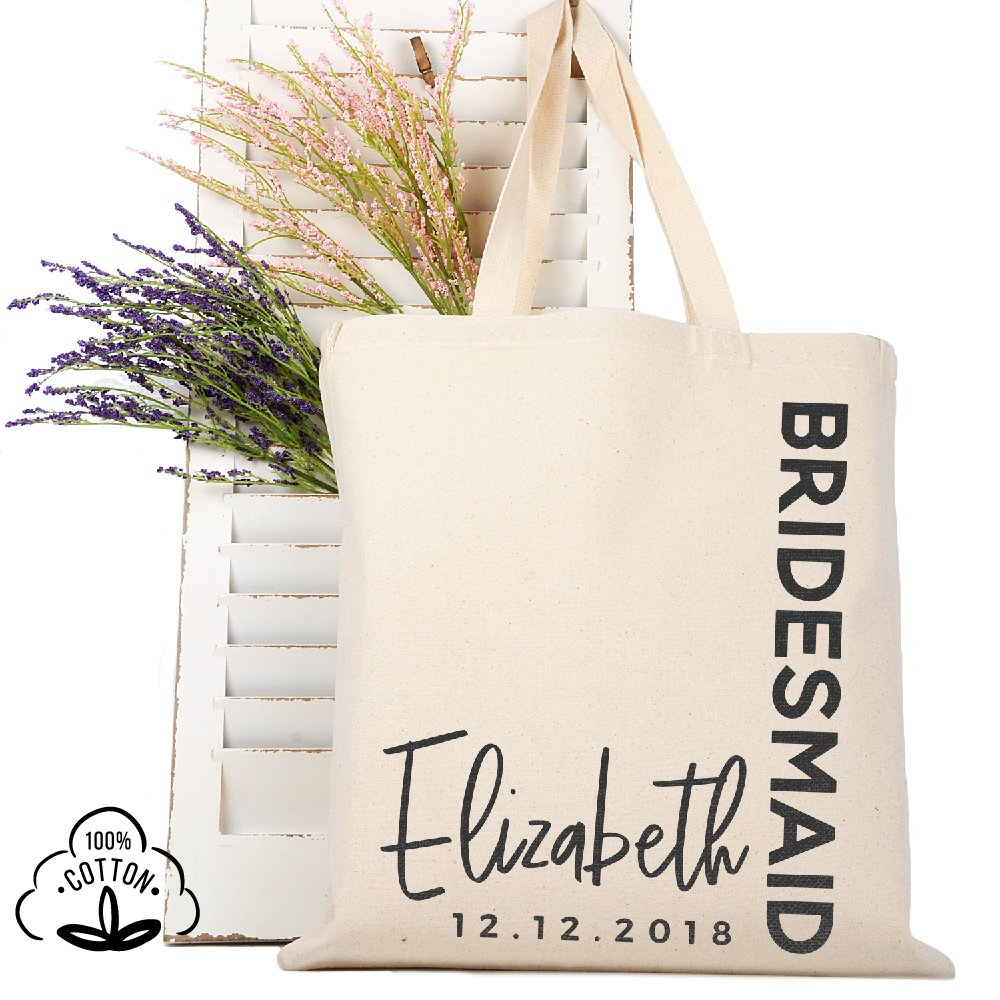 Personalized Tote Bag Natural Cotton Wedding Bridal Party | DSG#3 | set of 6