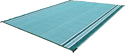 Professional EZ Travel Collection Reversible RV Outdoor Rug for Backyards, Beaches, Camping Grounds, Patios, and More, Storage Bag and Mat Stakes Included, Forest Green 9×18