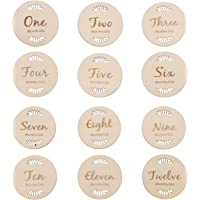 TOYANDONA 12Pcs Baby Monthly Cards Wooden Milestone Cards Baby Registry Shower Gifts Newborn Photography Props Growth…