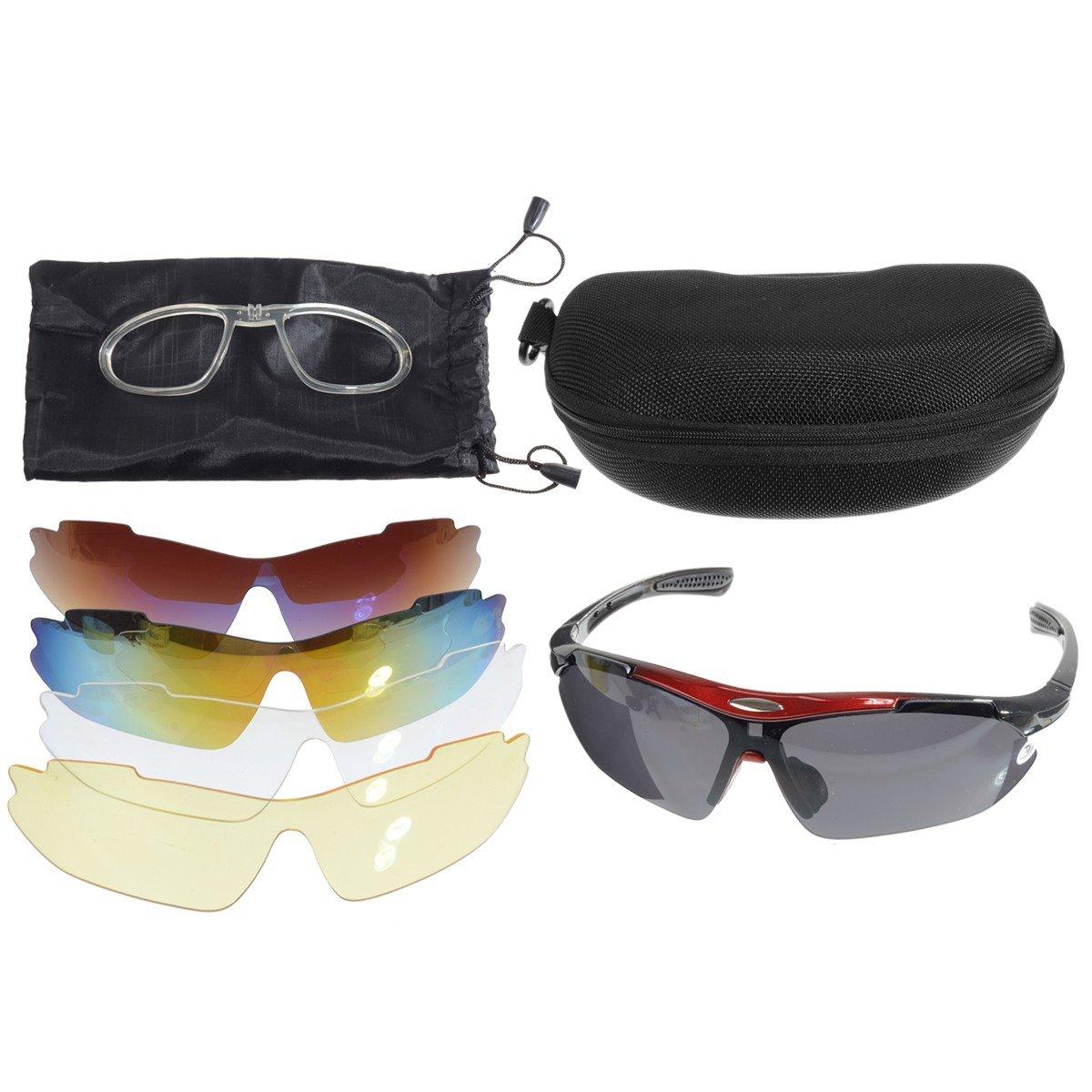 OUTERDO gafas de sol de ciclismo polarizadas. Gafas de sol UV protección de los ojos. Gafas 5 Lentes para deportes al aire libre, correr, conducir, ...