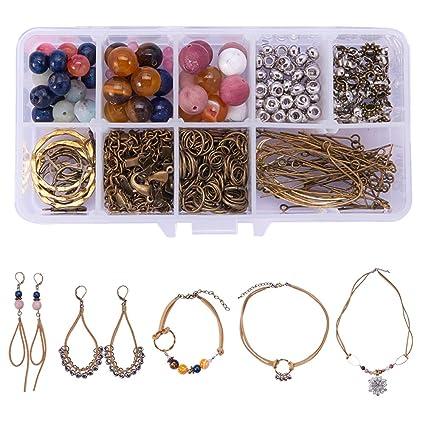f3a35f536da7 SUNNYCLUE 1 Set de 242 piezas DIY de ante sintético natural semiprecioso  Gemstone colección joyería collar