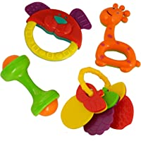 Vistaratrade Non Toxic Baby Toys Rattle Set Of 4 Pieces For Infants And Toddlers - Multi Color