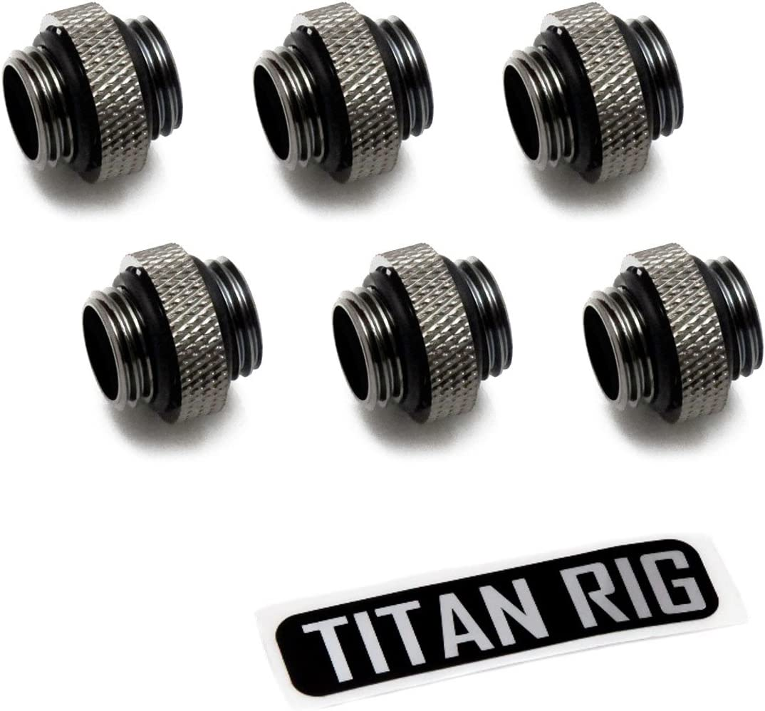 "XSPC G1/4"" 5mm Male to Male Fitting, Black Chrome, 6-Pack"