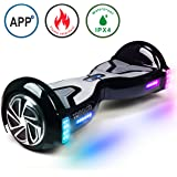 TOMOLOO Hoverboard Self-Balancing Scooter with Bluetooth Speaker and Lights - Black Hover Board with App UL2272 Certified for 265 lbs MAX Weight …