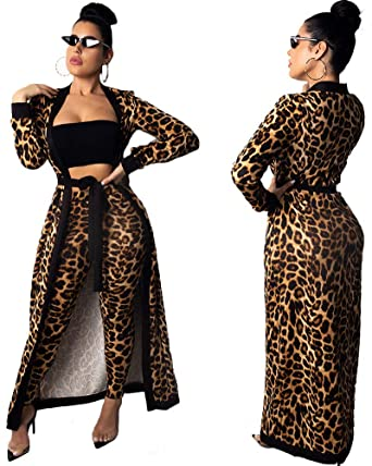 05915614a0f Women Sexy African 2 Piece Outfits Dashiki Long Cardigans Pant Set Tube Top  Leopard S