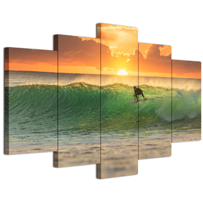 【リブラLibra】 5パネルセット アートパネル インテリアアート 海の景色 サーフィン キャンバス絵画 (木枠付きの完成品) (S, LP1748) B075VLH124 Small|LP1748 LP1748 Small