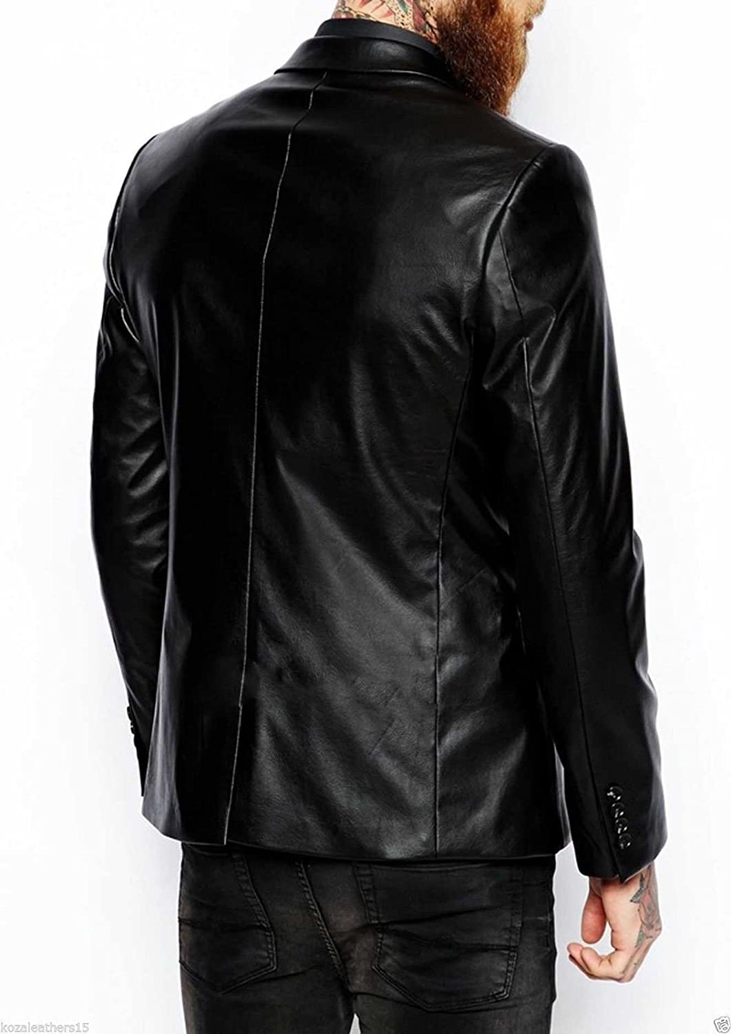 NBENTERPRISES Mens New Style Lambskin Slim Fit Black Leather Blazer