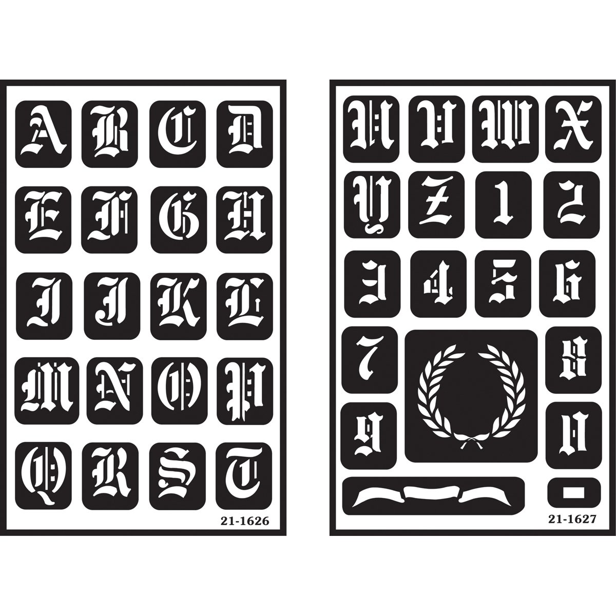 Over'n'over Reusable Stencils 5x8 2/pkg-Old English Alphabet Armour Products 27128547