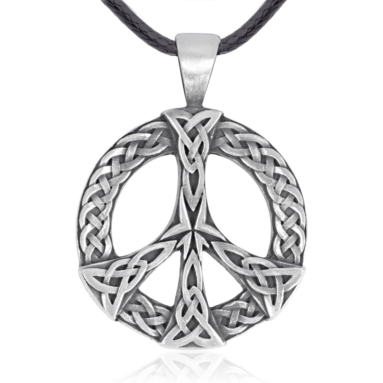 Dan's Jewelers Celtic Knot Peace Sign Pendant Necklace, Fine Pewter Jewelry