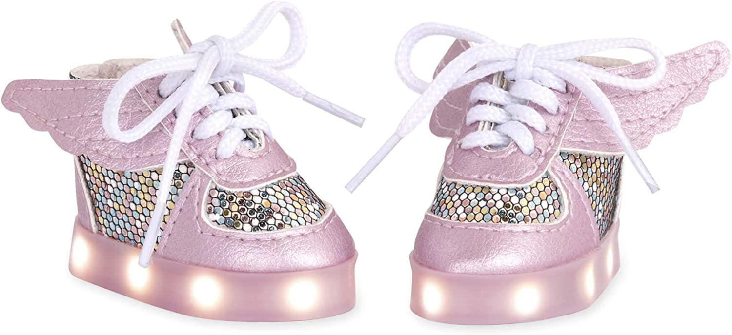 American Girl Doll Light up Shoes Glitter Pink Canvas for 18/'/' doll shoes cloth