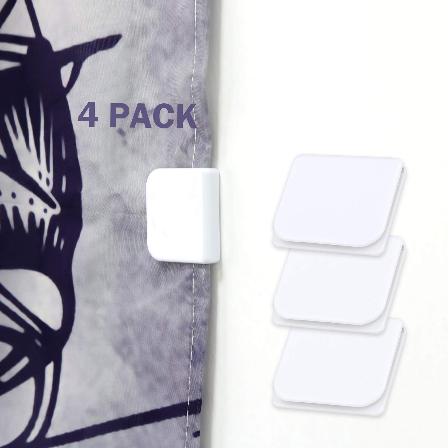Shower Curtain Clips, Wimaha 4 Pack Shower Splash Guard Self Adhesive Windproof Stop Protect Clips, White by Wimaha